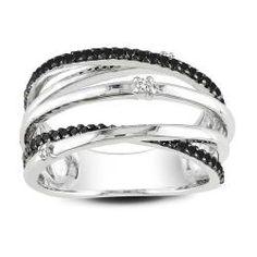 Miadora Sterling Silver 1/3ct TDW Black and White Diamond Ring (G-H, I3)