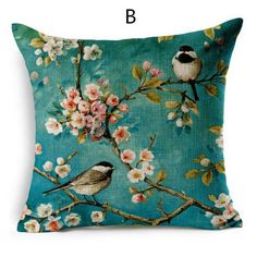 Flower bird pillow hand painted couch cushions linen