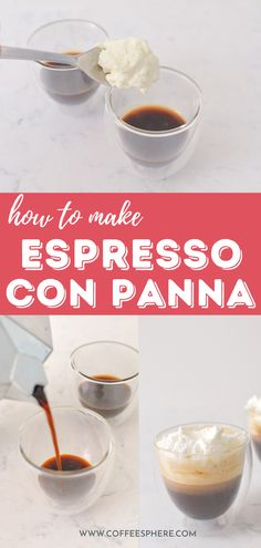 What is espresso con panna? The name of this coffee drink translates to espresso with cream in Italian and if you aren't familiar with it yet, it might just become your new favorite. Expresso Coffee, Espresso, Coffee Drinks, Beverages, Cream, Breakfast, Food, Espresso Coffee, Espresso Coffee