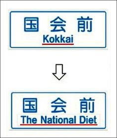 Tokyo to replace romanized Japanese with English on signboards for tourists / A traffic signboard in central Tokyo, top, shows the place name in both kanji and romanized Japanese. The latter was expected to shortly be replaced by text in English. (Provided by the transport ministry)