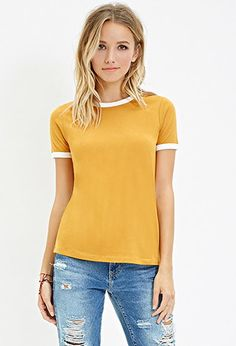 Contrast-Trimmed Crew Neck Tee | Forever 21 - 2000162072