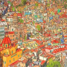 Highly Detailed Colouring Book for Adults Features Famous World Cities: Guanajuato, Mexico.
