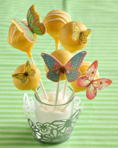 Yellow Cake Pops with Multi-Colored Butterflies