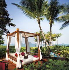 Main Pool cabana at Phulay Bay, a Ritz-Carlton Reserve resort in Krabi Province, southern Thailand. Beautiful Hotels, Beautiful Places, Outdoor Spaces, Outdoor Living, Outdoor Beds, Outdoor Stuff, Krabi Thailand, Hotel Thailand, Thailand Travel