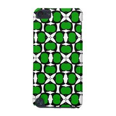 Blooming Stars in Green Case-Mate Barely There 5th Generation iPod Touch Case. Bold print inspired by modern designs, flowers, and stars. Black, white, and forest green.