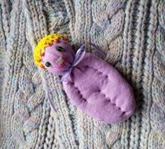 Lavender Filled Sachet Handmade Sock Doll OOAK Purple w\Yellow Beaded Hat #Pedricks