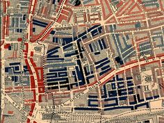 """Part of Charles Booth's poverty map showing the Old Nichol in the East End, published in 1889 in Life and Labour of the People of London. Red - middle class/wealthy; light blue - poor, 18s to 21s a week; dark blue - very poor, chronic want; black - lowest class, occasional labourers, street sellers, loafers, criminals & semi criminals."""""""