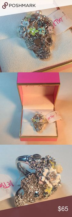 BETSEY JOHNSON skull ring Betsey Johnson sparkly flower embellished skull ring with pearly detail Betsey Johnson Jewelry Rings