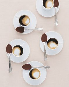 Coffee with chocolate spoons. A little sweetness for the AM!