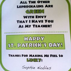 Tag for St. Patrick's Day gift basket