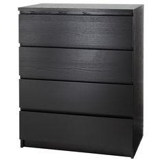 MALM 4-fiókos szekrény - fekete-barna - IKEA