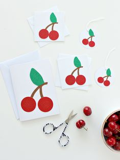 CHERRIES 5-PIECE BUNDLE Craft Shop, Summer Crafts, Cherries, Envelopes, Craft Projects, Party, How To Make, Fun, Mindfulness
