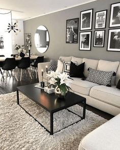 Keep up to date with the most recent small living room decor some ideas (chic & modern). Find excellent techniques for getting trendy design even if you have a small living room. Elegant Living Room, Living Room Modern, Home And Living, Stylish Living Rooms, Black And White Living Room Ideas, Modern Lounge Rooms, Living Room Corner Decor, Small Living Dining, Small Condo Living