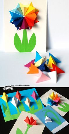 How to make gorgeous paper flowers! Fun craft activity for kids. (Cool Crafts For Mothers Day) Flower Crafts Kids, Easter Crafts For Kids, Craft Activities For Kids, Preschool Crafts, Diy Crafts To Do, Hobbies And Crafts, Craft Images, Spring Crafts, Quilling