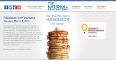Today is National Pancake Day at IHOP. Please donate to the Children's Miracle Network. #nationalpancakeday