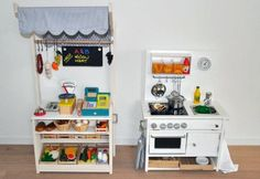 { DIY } ikea rast hack: play kitchen and market stall Ikea Play Kitchen, Diy Kitchen, Play Kitchens, Kitchen Hacks, Toddler Play Kitchen, Childrens Play Kitchen, Kitchen Store, Kitchen Sets, Ikea Rast Nightstand