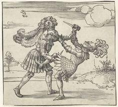 Twee ridders in gevecht, Albrecht Dürer, 1517 #PublicDomain