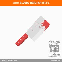 ACS067_BloodyButcherKnife. Part of D&M Character Kit. Butcher Knife, After Effects Templates, Motion Graphics, This Or That Questions, Kit, Blog, Character, Accessories, Design