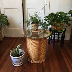 Vintage Rattan Basket  Round Bamboo Basket  Side Table