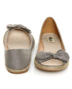 Grey Bow-tie Espadrille Peep Toe Flats