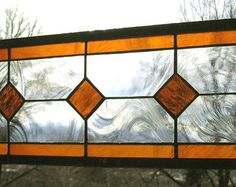 """Geometric Amber and Clear--6.5"""" x 18.5""""--Stained Glass Window Transom Panel"""