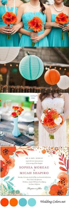 A sea of light teal blue mixed with a bold tangerine, that's what today's wedding color inspiration is all about! These two gorgeous contrasting colors can be a