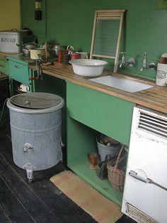 Kitchen in 1940's Prefab
