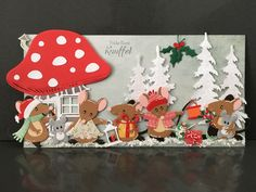 Diy Christmas Cards, Xmas Cards, Diy Cards, Marianne Design Cards, Diy Scrapbook, Scrapbooking, Cute Mouse, Embossed Cards, Cricut Cards