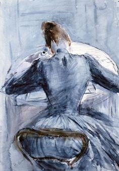 'Mme Helleu écrivant de dos' (1886) by French artist Paul César Helleu (1859-1927). Watercolor, 48.5 x 35 cm. via Les Amis de Paul-César Helleu