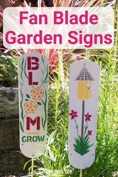 DIY Garden Signs from Fan Blades - Girl, Just DIY! Turn your old ceiling fan blades into cute DIY Garden Signs with stencils and a little freehand for a creative repurpose and upcycle project that's a cute and whimsical addition to your garden. Garden Crafts, Diy Garden Decor, Garden Projects, Garden Art, Garden Ideas, Painted Fan Blades, Fan Blade Art, Diy Craft Projects, Diy Crafts