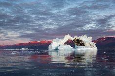 Midnight sun and iceberg by Erez Marom (Greenland)