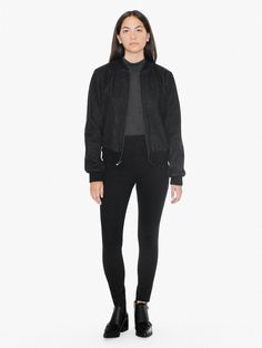 This bomber jacket with a similar silhouette to our best selling Amelia Jacket. It features a front zip closure, side pockets and ribbed cuffs and hem.