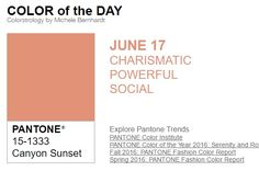 ...y el color de hoy es Puesta de Sol en el Cañón, un color carismático, poderoso, social. Más info en http://www.pyma.com/general/y-los-colores-pantone-de-esta-semana-sonsemana-del-13-al-19-de-junio/