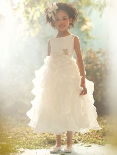 DISNEY'S PRINCESS JASMINE: Shimmer Organza tea length dress with asymmetric ruffle tiered skirt.