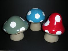 Concrete Cement Set of 3 Mushroom Toadstool Statues Hand Made Painted SEALED   eBay