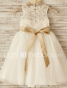 Princess Knee-length Flower Girl Dress - Lace / Tulle Sleeveless Scoop with Bow(s) / Sash / Ribbon 2017 - R$202.77