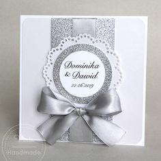 Zaproszenie ślubne z brokatem Brokat, Explosion Box, Wedding Invitations, Frame, Handmade, Scrapbooking, Invitations, Wedding Cards, Picture Frame