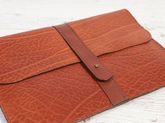 Orange leather case for MacBook Air Leather portfolio. Macbook Air 11, Orange Leather, Vegetable Tanned Leather, Leather Case, Wallet, Antiques, Etsy, Leather Pencil Case, Antiquities