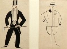 Alexandra Exter, 2 works: Two costume designs for male cabaret characters