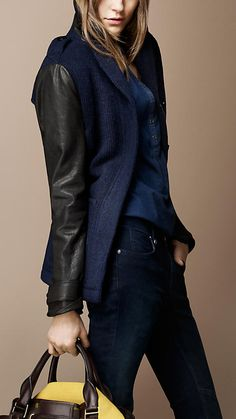 Burberry Leather Sleeve Wool Blend Coat
