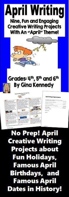 NO-PREP! April themed creative writing projects for upper elementary students! An authentic way to get your students excited about writing.  Nine fun, engaging and creative writing projects with an April theme. From writing about matchmaking for a single president, creating a humorous dishonest biography, or researching the Titanic; the engaging writing activities in this resource will keep your students motivated and excited about writing. $
