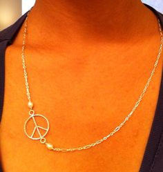 Sideway Peace necklace peace sign necklace by EllynBlueJewelry, $22.99