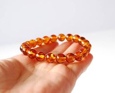 Natural Baltic amber bracelet Cognac Amber beaded bracelet