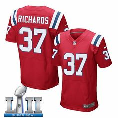 36fd2072a Nike Patriots 37 Jordan Richards Red 2018 Super Bowl LII Elite Jersey  Jersey Patriots