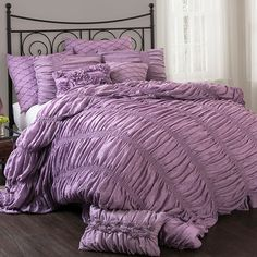 Add elegance and style to your bedroom with this luxurious three-piece Madelynn comforter set from Lush Decor. Available in queen, king and California king sizes, this plush, cotton-blend set includes Luxury Comforter Sets, Queen Comforter Sets, King Comforter, Bedding Sets, Duvet, Purple Comforter, Bedroom Comforters, Grey Bedding, Master Bedroom