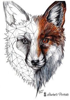 Unique Fox Head Tattoo Design By Laurenes Portraits