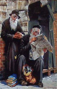 Dois intelectuais judeus lendo as notícias, 1998 Maher Morcos (Egito, 1952)