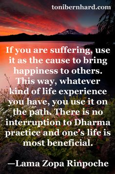 Even suffering can be put to beneficial use on the path...Lama Zopa Rinpoche
