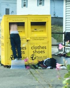 While driving just outside Boston recently, I took this photo. Yes, I while driving.  But I didn't want to miss this scene.  As pictured, a man is digging through a Planet Aid clothes donation box for a new outfit.  Obviously, the photo quality isn't good — I took it with my iPhone while driving about 40 mph.  But the message hit me like a speeding car – I'm so lucky to have the life I do.  I love my life!  ...continued....  #grateful #blessed #thankful