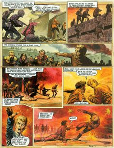 During the ferocious Elekton assault of Bolus City, Janno is cut down by gunfire in this artwork by Don Lawrence from Look And Learn 30, March 1968. £1375 signals the rise of The Trigan Empire. - Comic Book Auctions LTD